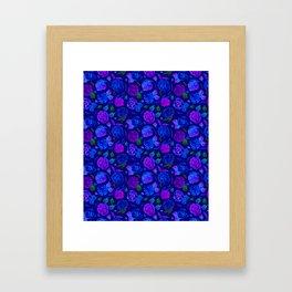 Watercolor Floral Garden in Electric Blue Bonnet Framed Art Print