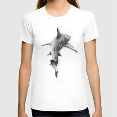 Shark II MEDIUM White Womens Fitted Tee