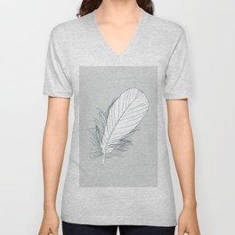 White Feather on Grey Background Illustration Unisex V-Neck