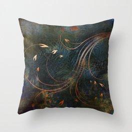Autumn Gold Whirlwind Flames on Indigo Throw Pillow