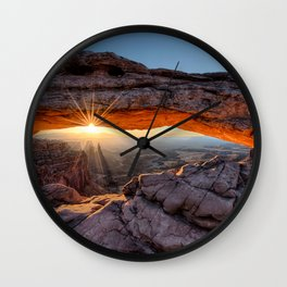 Mesa Arch Sunburst Canyonlands National Park.  by Lena Owens Wall Clock