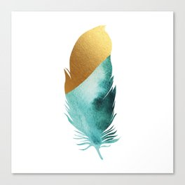 Boho gold-tipped feather Canvas Print