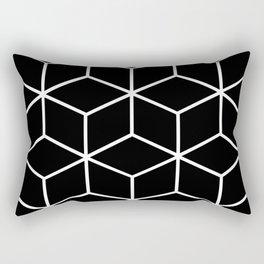 Black and White - Geometric Cube Design II Rectangular Pillow