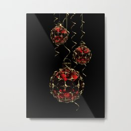 Christmas Baubles & Ribbons Metal Print