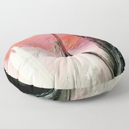 Train of thought: a vibrant abstract mixed media piece Floor Pillow