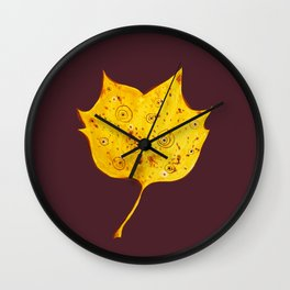 Fancy Watercolor Yellow Autumn Leaf Wall Clock
