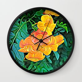 Orange Flowers of Flowing Circuitry Wall Clock