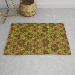Lotus flower - curry green woodblock print style pattern Rug