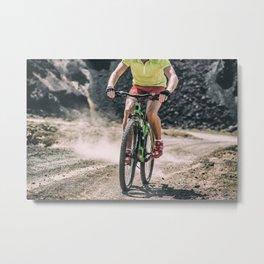 MTB mountain biking extreme biker on dirt trail bike Metal Print