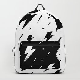 Lightning Bolts And Clouds Black And White Illustration Backpack