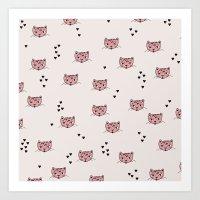 Cute kitty cat love illustration leopard pattern Art Print