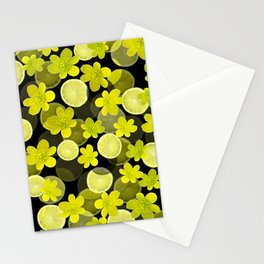 Lime and flowers on black Stationery Cards