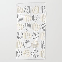 Abstract Gold Black Pattern Beach Towel