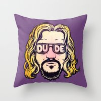 the dude Throw Pillows featuring Dude by Beery Method