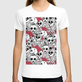 Seamles pattern. Crazy punk rock abstract background. Skulls,stars, rock symbols T-shirt