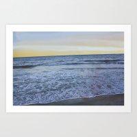rileigh smirl Art Prints featuring Ocean Sunset by Rileigh Smirl