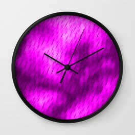 Line texture of magenta oblique dashes with a luminous intersection on a luminous charcoal. Wall Clock