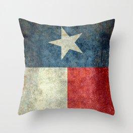 Texas flag, Grungy Vertical Banner Throw Pillow