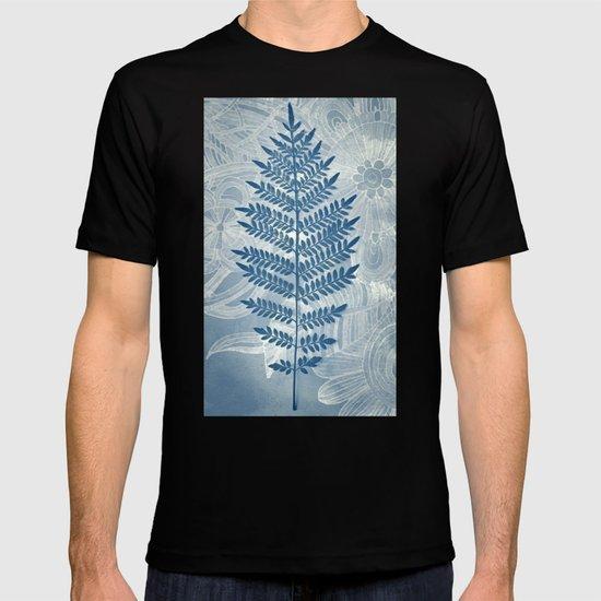 Jacaranda Leaf in Blue, Cream, Grey T-shirt