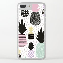 Summer pineapples in pastel color pop Clear iPhone Case