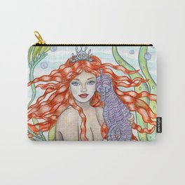 The Mermaid and the Seahorse Carry-All Pouch