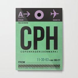 CPH Copenhagen Luggage Tag 1 Metal Print