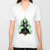 maleficent V-neck T-shirts featuring Maleficent by Yellow Raven Ink