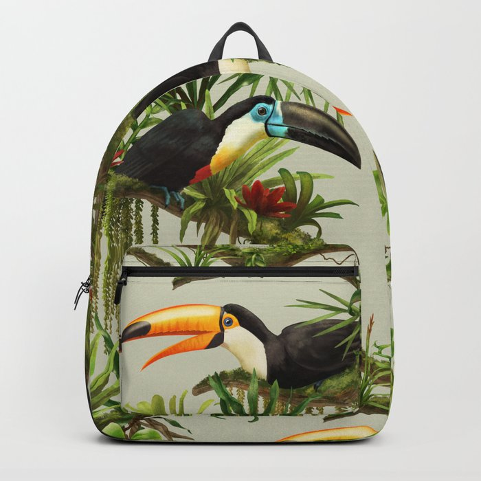 Toucans and Bromeliads (Canvas Background) Backpack