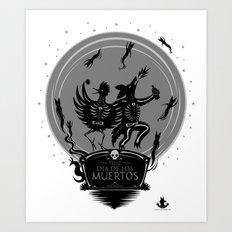 Dia de los Muertos Roadrunner and Coyote Art Print