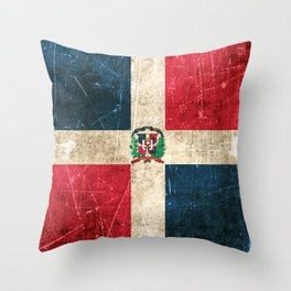 Vintage Aged and Scratched Dominican Flag Throw Pillow