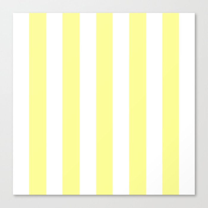 Pastel Yellow Solid Color White Vertical Lines Pattern Canvas Print