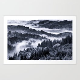 Misty Forest Mountains Art Print