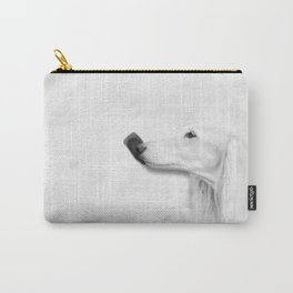 White Saluki No 02 Carry-All Pouch