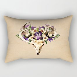 Deer Skull and Flowers on Buckskin Background Rectangular Pillow