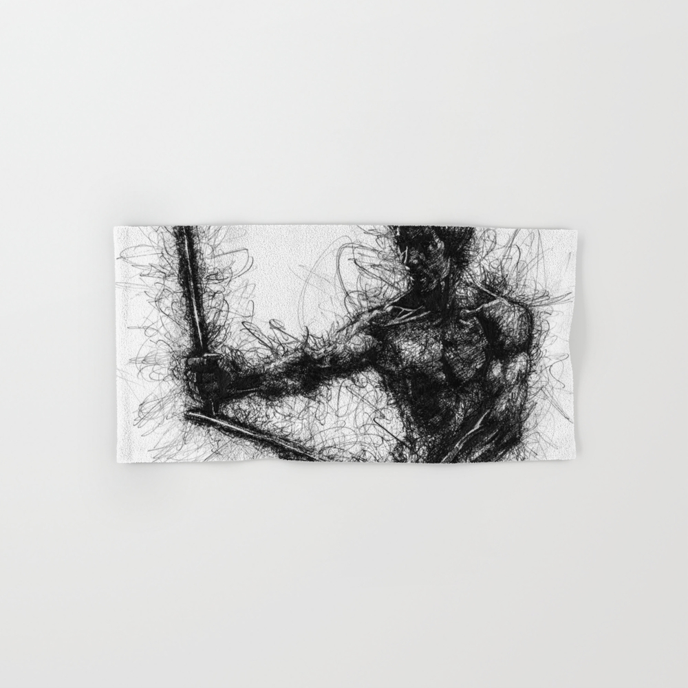 Bruce Kung Fu Master Lee, Drawing, Wall Art, Kung … Hand Towel by Juliolucas BTL8502345