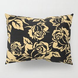 Gold Rose Pattern on Black Pillow Sham