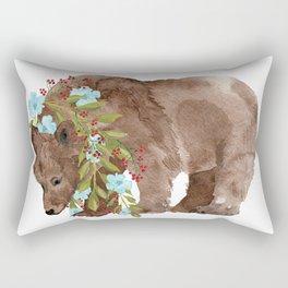 Bear with flower boa Rectangular Pillow