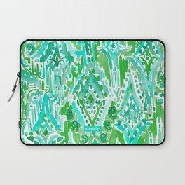 DROPS OF WONDER Green Ikat Tribal Laptop Sleeve