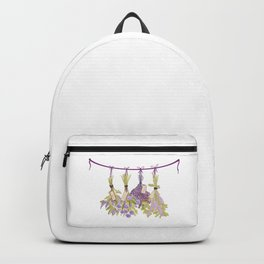 Herbs in pastel color . Unique Backpack