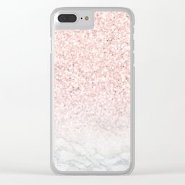 Pink Rose Gold Glitter and Marble Clear iPhone Case