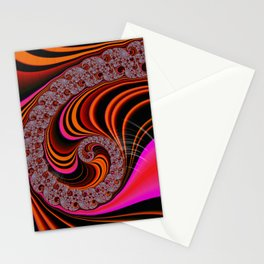 Psychadelic pink orange neon fractal swirl Stationery Cards