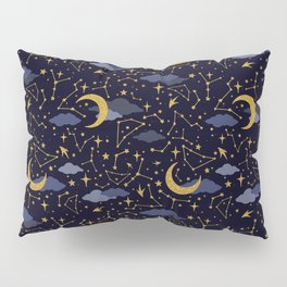Celestial Stars and Moons in Gold and Dark Blue Pillow Sham