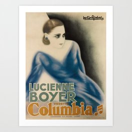 retro lucienne boyer   columbia. 1933  Art Print
