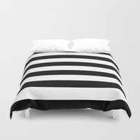 stripe Duvet Covers featuring Stripe Black & White Horizontal by Beautiful Homes