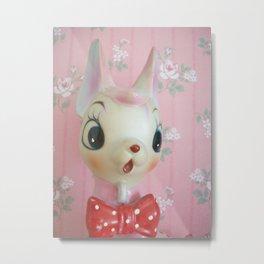 Pink bow tie deer Metal Print