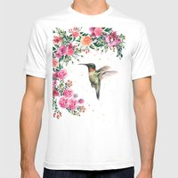 Hummingbird and Flowers Watercolor Animals MEDIUM Mens Fitted Tee White