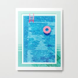 Chillin' - poolside palm springs vacation resort tropical swim swimming retro neon throwback 1980s Metal Print