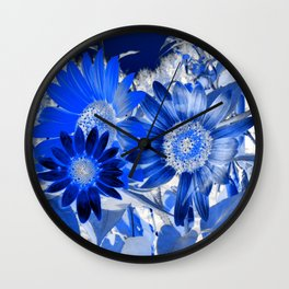 3 Blue Sunflowers Wall Clock