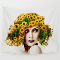 sunflowers Wall Tapestries featuring Sunflowers by EclipseLio