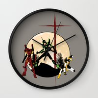evangelion Wall Clocks featuring Neon Genesis Evangelion - Hill Top by kamonkey